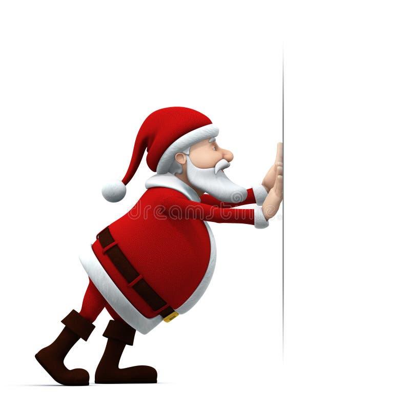Het duwen van de kerstman vector illustratie