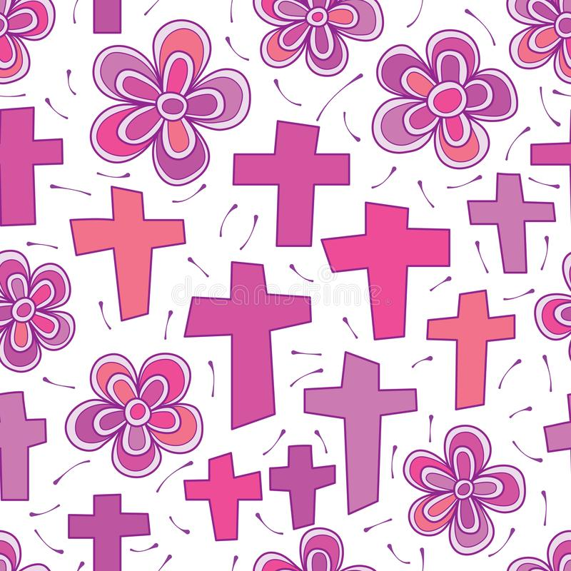 Het dwars purpere naadloze patroon van de kleuren sprit bloem royalty-vrije illustratie