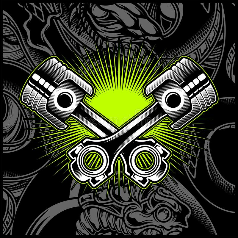 Het dwars Zwart-witte Embleem van de Motorfietszuiger, Emblemen, Kenteken - Vector royalty-vrije illustratie