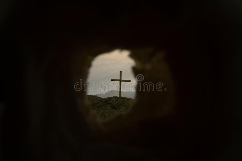 Het dwarssymbool voor Jesus Christ is toegenomen royalty-vrije stock foto