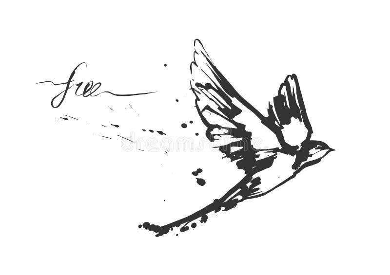 Het dynamische vliegen slikt vogel stock illustratie