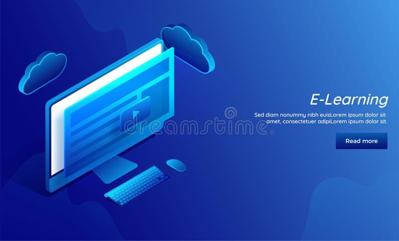 Het e-lerend concept baseerde ontvankelijke landende pagina voor website tem stock illustratie