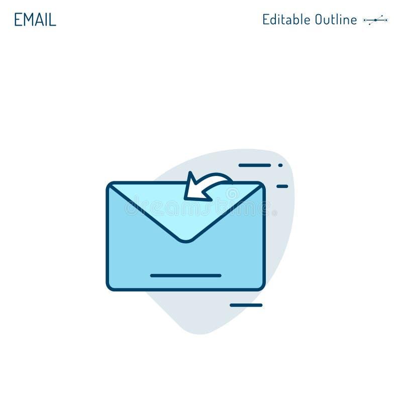 Het e-mailpictogram, Inbox-pictogram, contacteert ons, schrijft aan ons, ontvangt bericht, e-mail marketing, Editable-slag vector illustratie