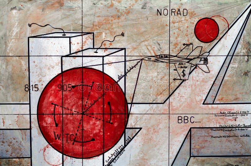 Het echte Eigentijdse Schilderen op Canvas vector illustratie