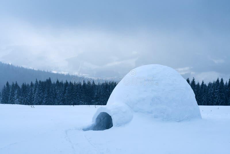Het echte huis van de sneeuwiglo in de de winter Karpatische bergen stock foto