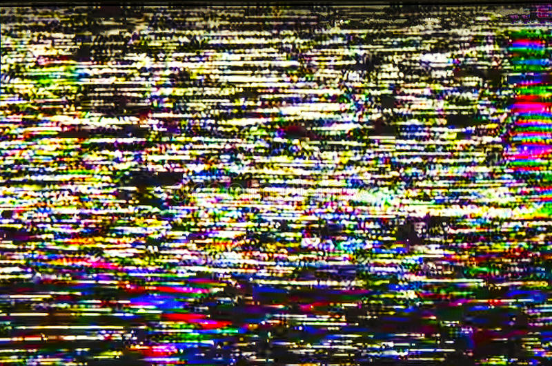 Het echte scherm van kleurrijke digitale glitch van de testtelevisie royalty-vrije stock fotografie