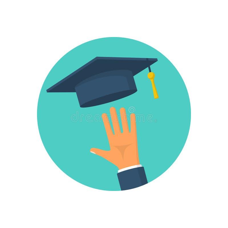 Het een diploma behalen pictogram vlakke vector royalty-vrije illustratie