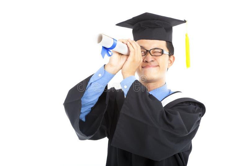 Het een diploma behalen student het letten op stock afbeelding