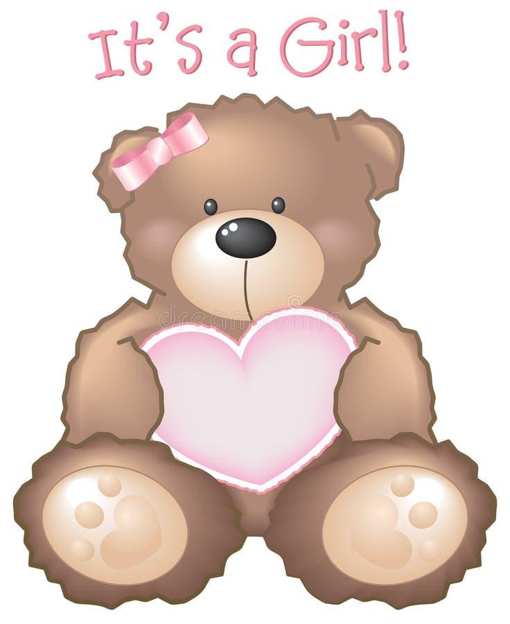 Het is een Meisje! Het teken van de teddybeer royalty-vrije illustratie