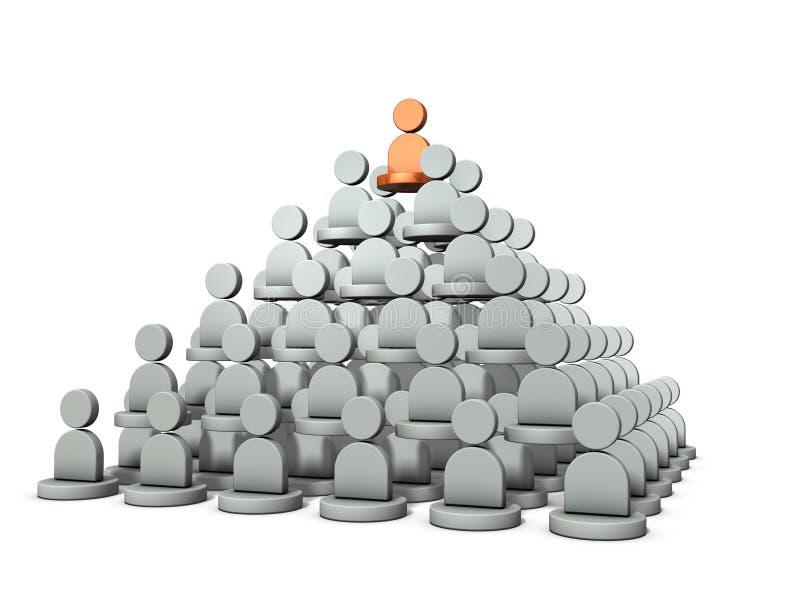 Het is een piramidestructuur, rang van macht Het vertegenwoordigt de structuur van de organisatie stock illustratie