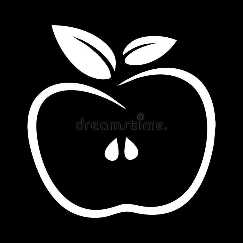 Het eenvoudig, vlak, zwart-wit embleem van het appelkader/pictogram Wit silhouet royalty-vrije illustratie