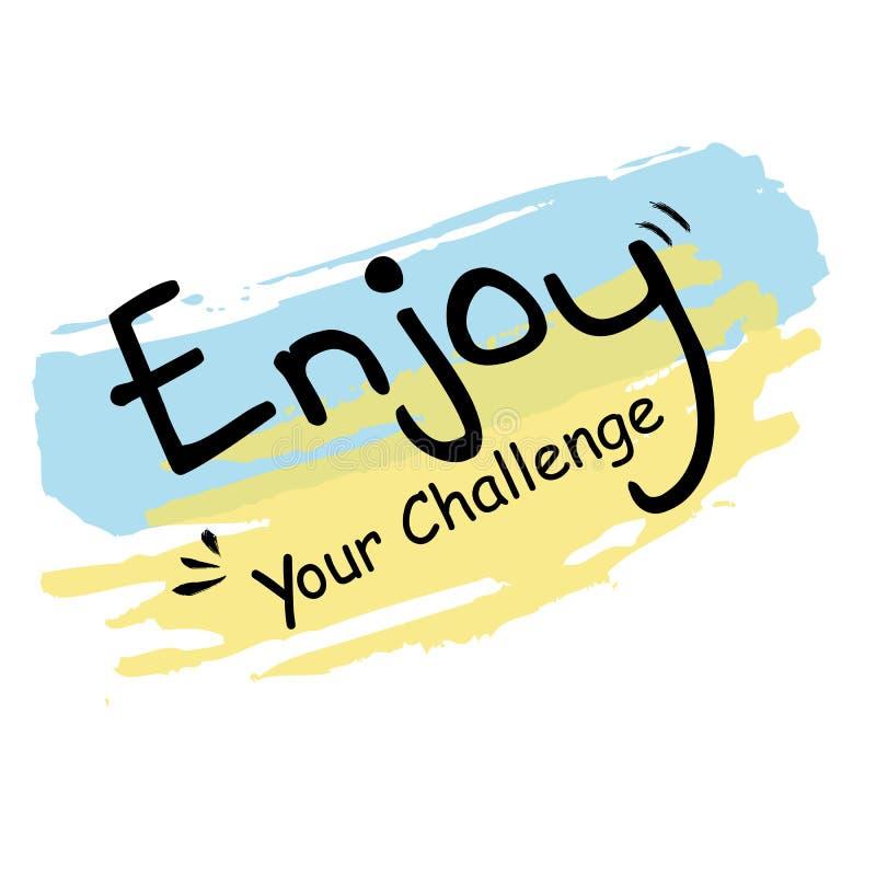 Het eenvoudige Blauwe en Gele Transparante de pastelkleurcitaat van de Gekrabbelstrook, geniet van Uw Uitdaging stock illustratie
