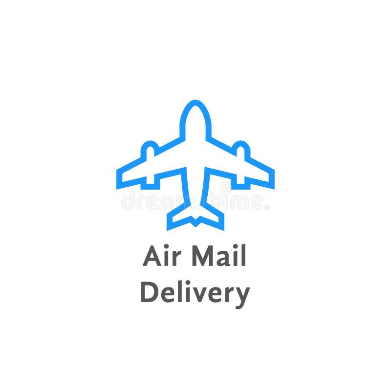 Het eenvoudige embleem van de luchtpostbestelling op wit vector illustratie