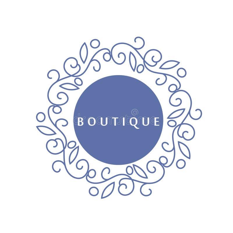 Het eenvoudige en bevallige bloemenmalplaatje van het monogramontwerp, Elegant lineartembleem, vectorillustratie voor boutique, s royalty-vrije illustratie