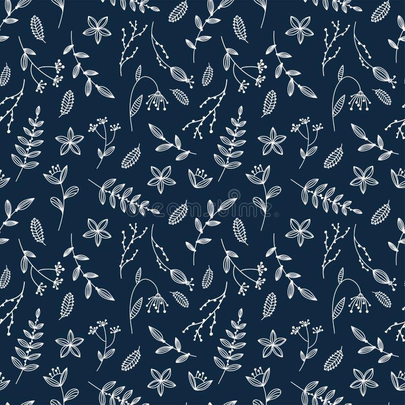 Het eenvoudige en creatieve bloemen naadloze patroon, hand getrokken schets bloeit en takken, lijnkunst, groot voor vrouwelijke m royalty-vrije illustratie
