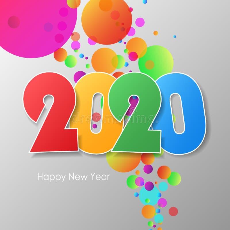 Het eenvoudige gelukkige nieuwe jaar 2020 van de groetkaart stock fotografie