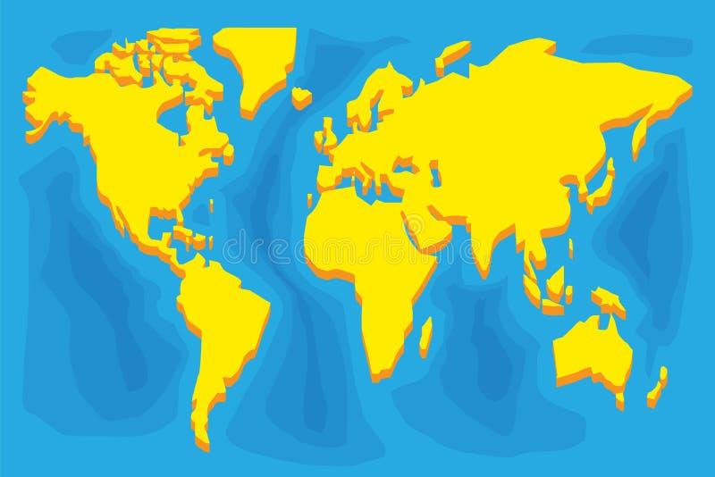 Het eenvoudige gestileerde silhouet van de wereldkaart royalty-vrije illustratie