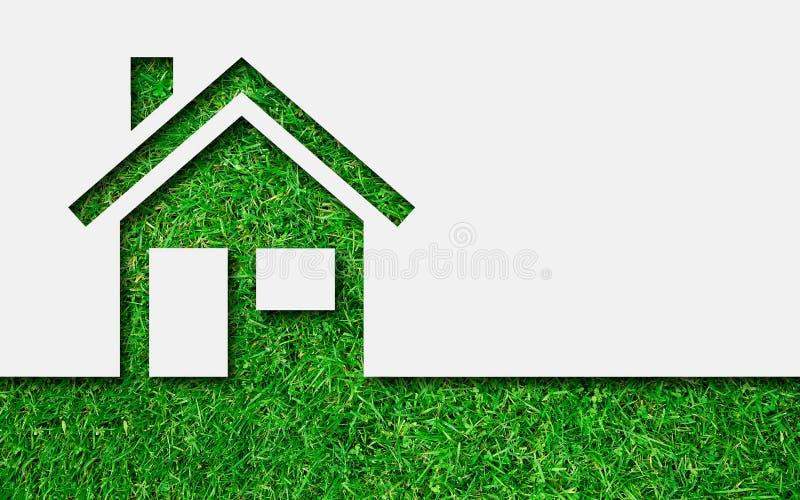 Het eenvoudige groene pictogram van het ecohuis stock foto