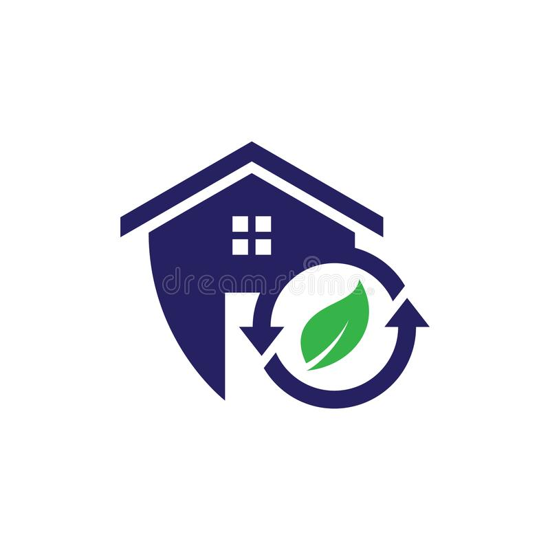 Het eenvoudige huisvesting en schild van het onroerende goederenpictogram kringloop voor Webpictogram of mobiele APP vector illustratie