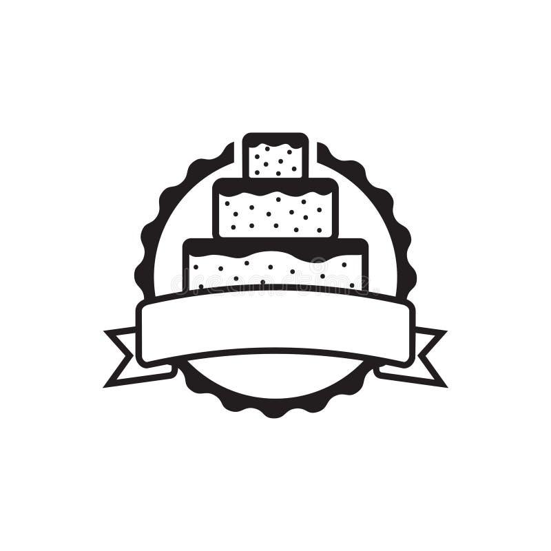 Het eenvoudige Kenteken van de Cakesticker met het Malplaatje van de Lintbanner stock illustratie