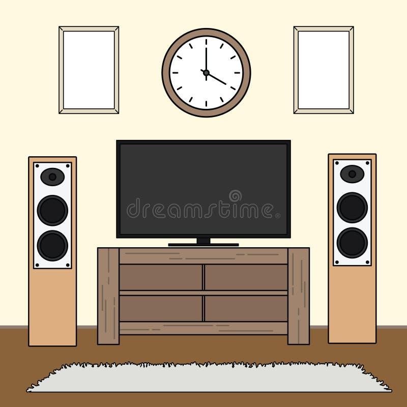 Het eenvoudige minimalistische malplaatje van woonkamerreeksen stock illustratie