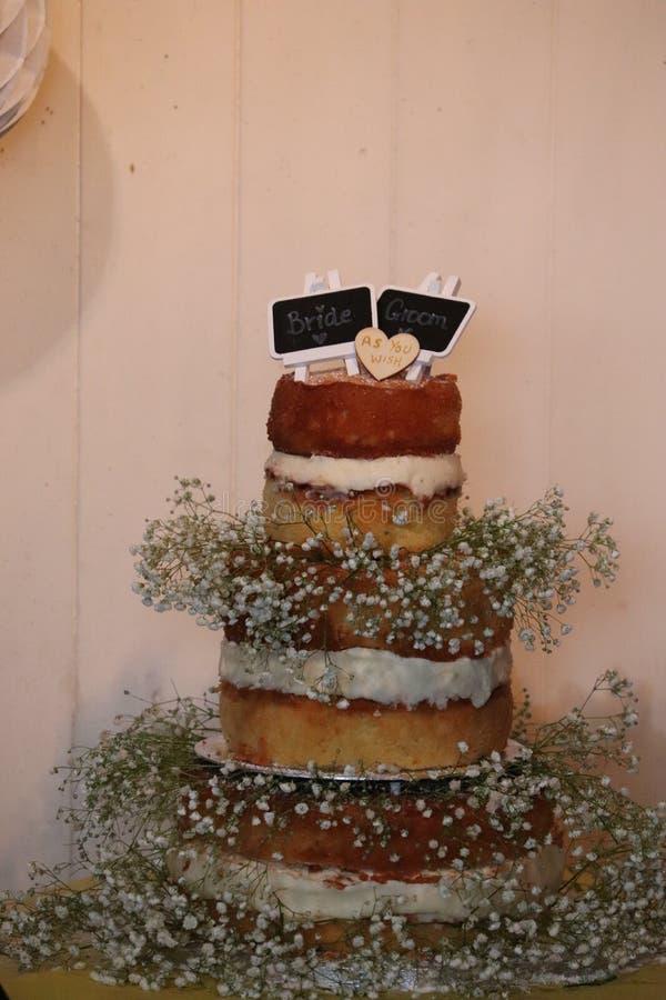 Het eenvoudige naakte ontwerp van de huwelijkscake stock afbeelding