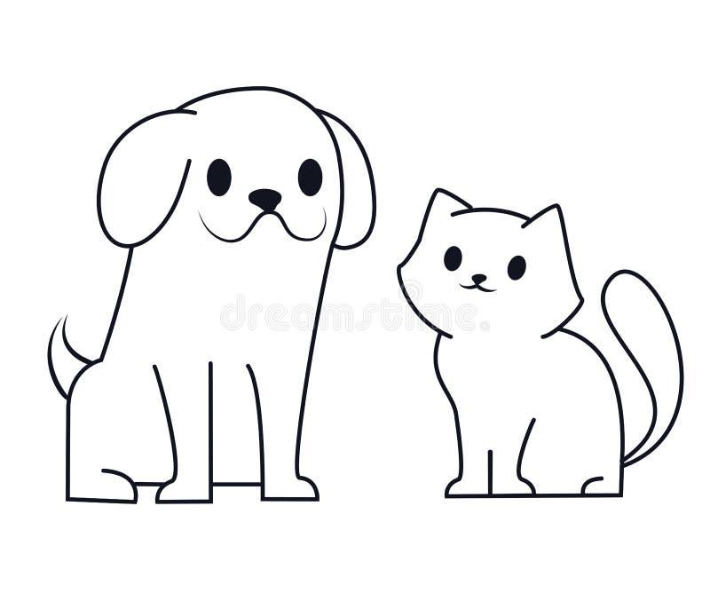 Het eenvoudige ontwerp van het lijnpictogram van puppy en katje Leuk weinig van de beeldverhaalhond en kat vectorillustratie Dier vector illustratie