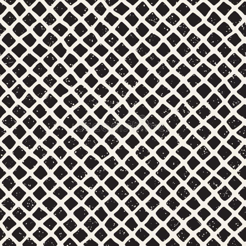 Het eenvoudige patroon van het inkt geometrische rooster Zwart-wit kruisende lijnenachtergrond Hand getrokken vierkant net royalty-vrije stock foto's
