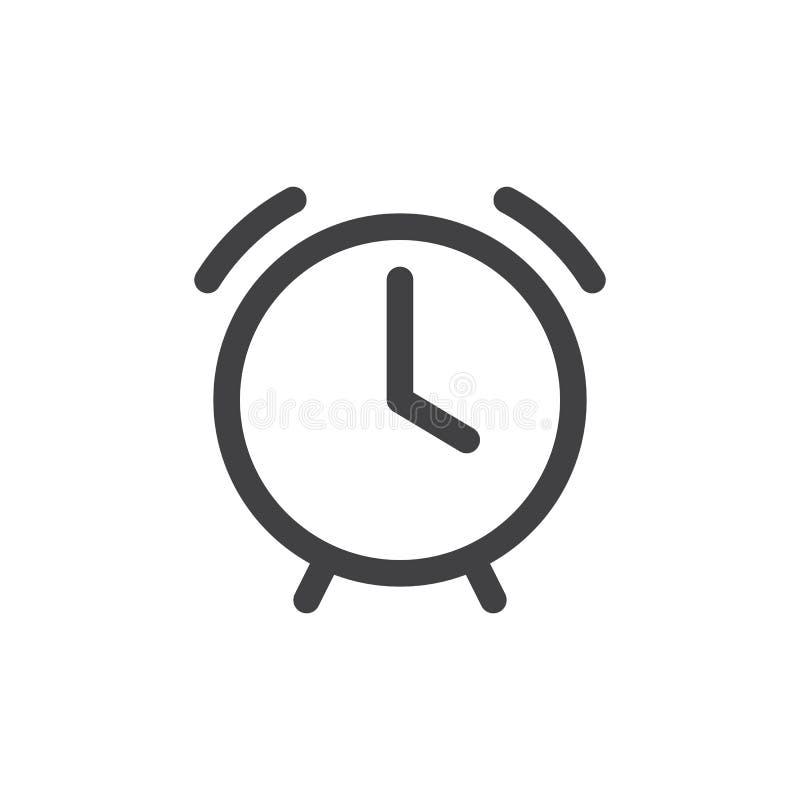 Het eenvoudige pictogram van de wekkerlijn stock illustratie