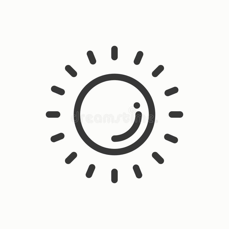Het eenvoudige pictogram van de zonlijn Weersymbolen meteorologie Het element van het voorspellingsontwerp Malplaatje voor mobiel royalty-vrije illustratie