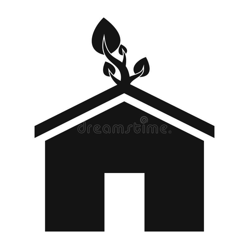 Het eenvoudige pictogram van het Ecohuis stock illustratie