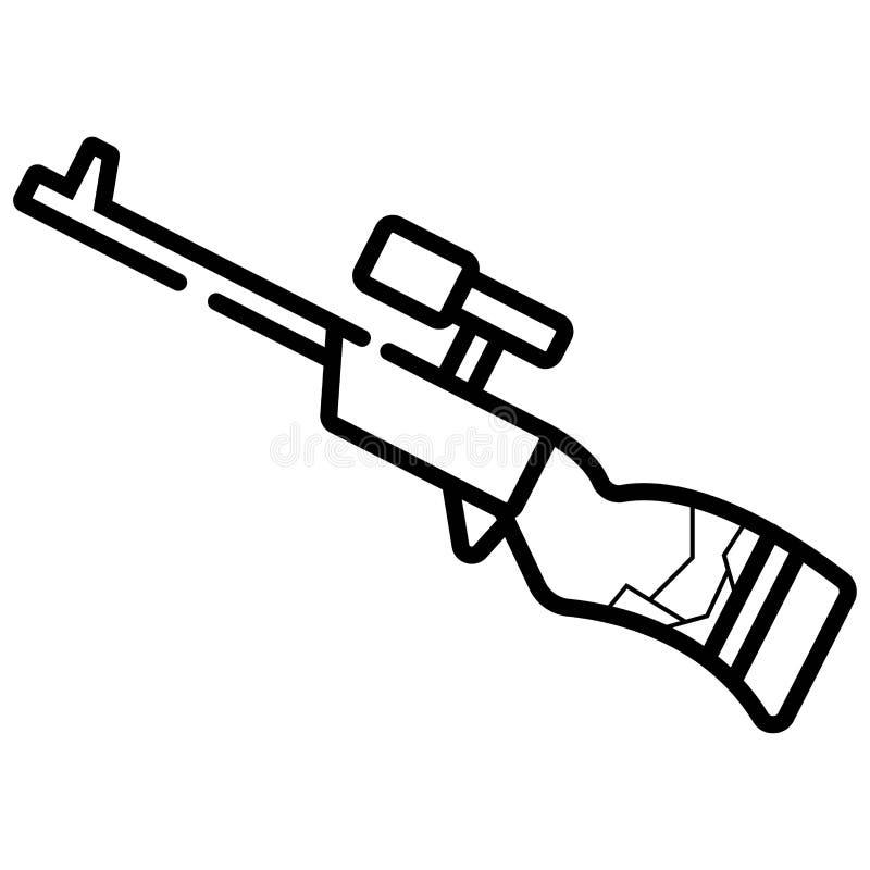Het eenvoudige pictogram van het sluipschuttergeweer stock illustratie