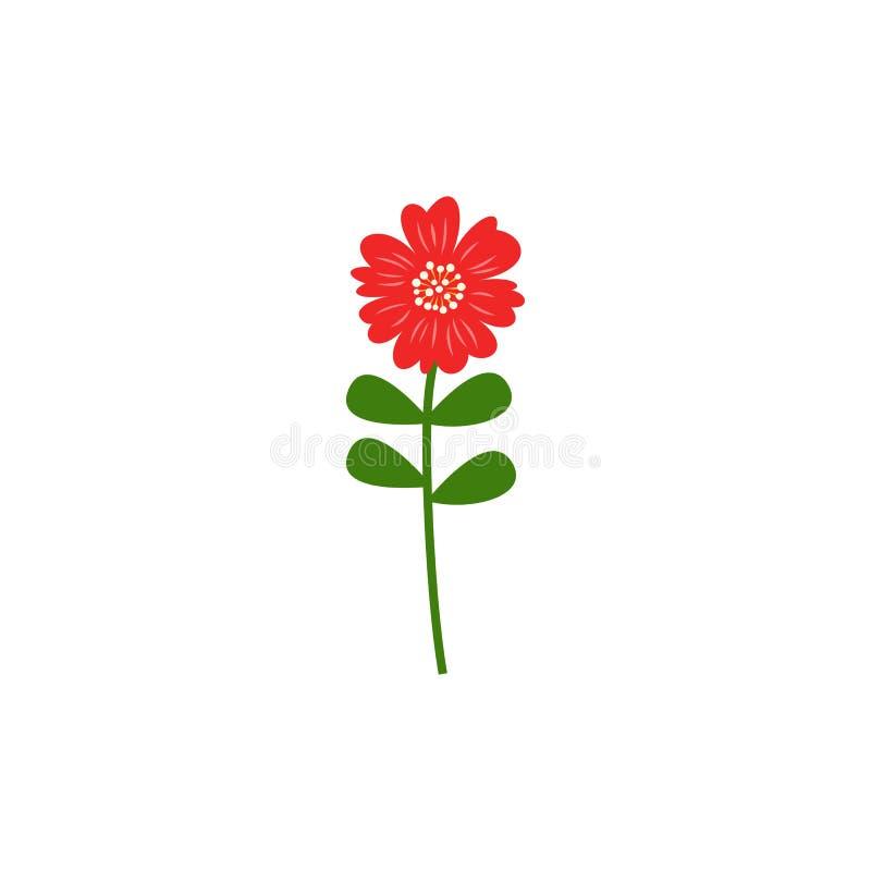 Het eenvoudige rode vlakke ontwerp van het bloem vectorpictogram stock illustratie
