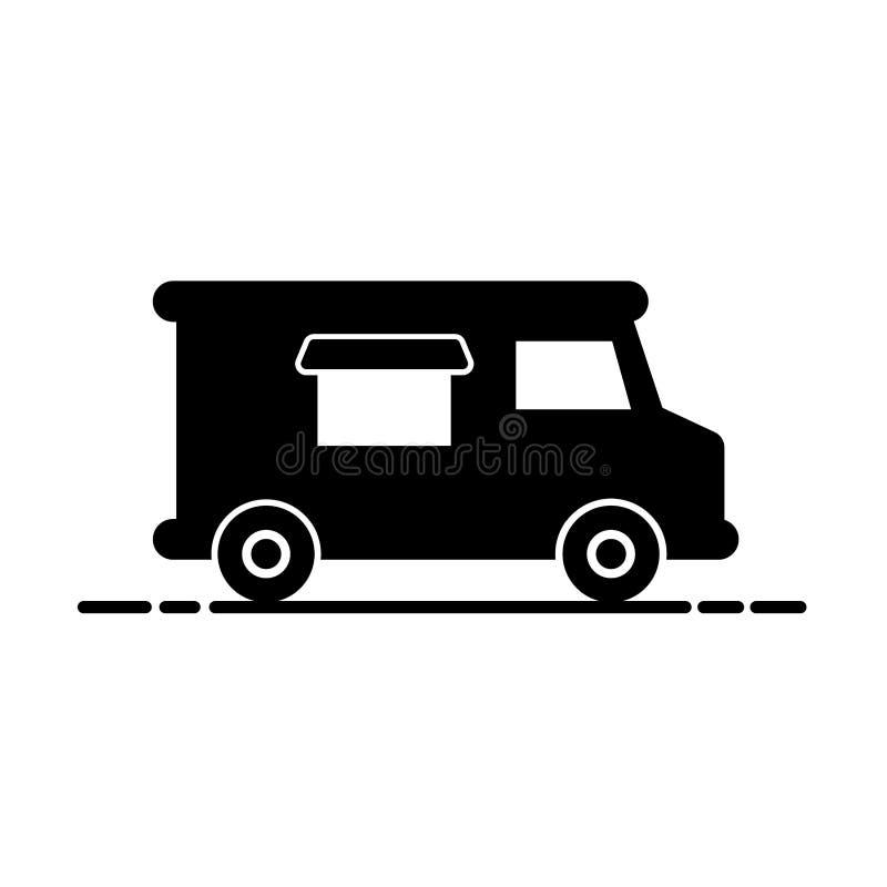 Het eenvoudige silhouet van de voedselvrachtwagen royalty-vrije illustratie
