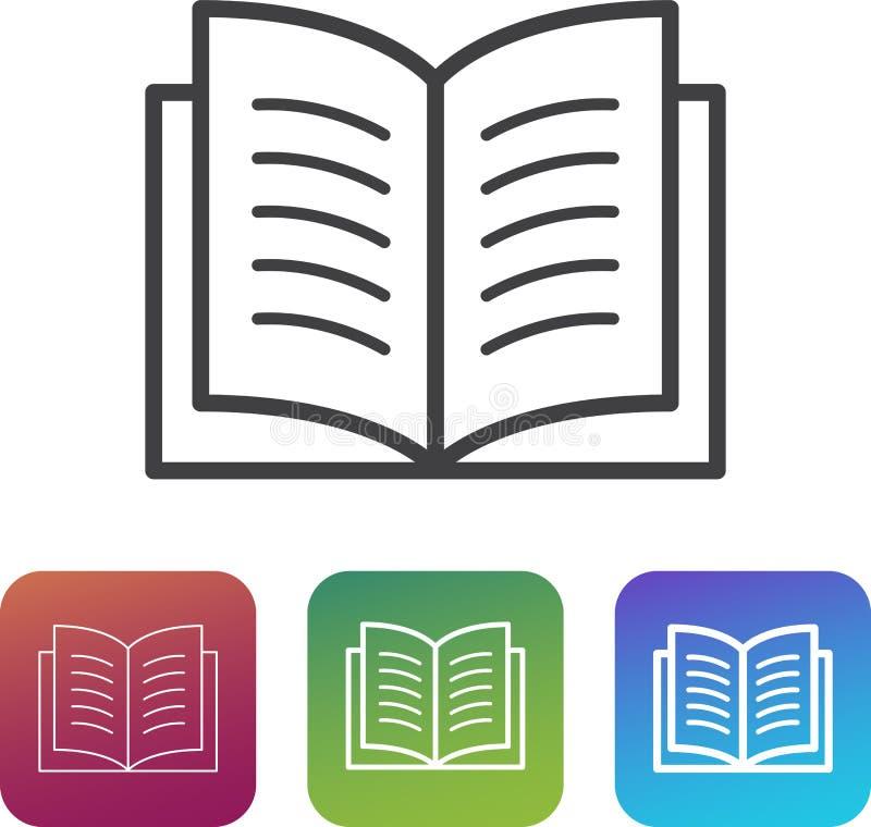 Het het eenvoudige symbool/pictogram van het boekpictogram met extra dunne en dikke varianten stock illustratie
