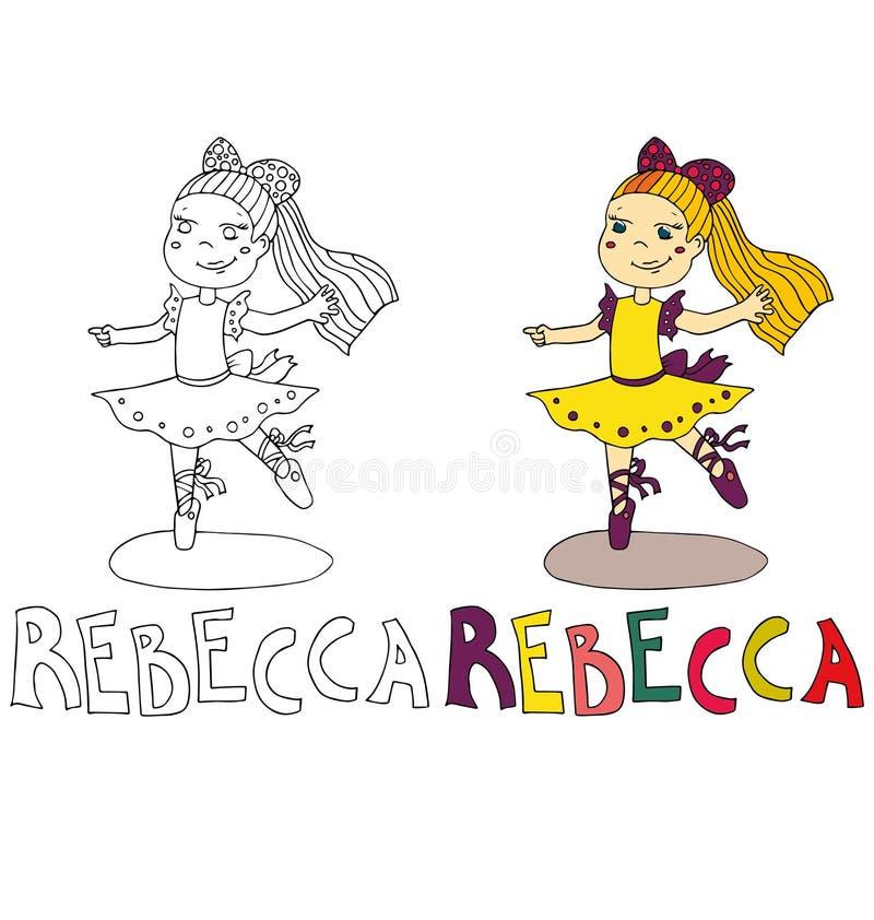 Het eenvoudige tekeningsbeeldverhaal voor het kleuren beeld van kinderen met andere benamingen in de verenigbaarheid met het kara royalty-vrije illustratie