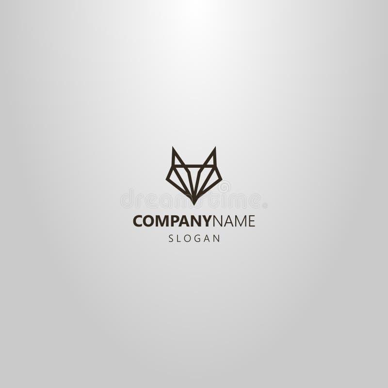 Het eenvoudige vector geometrische embleem van de lijnkunst van een abstract vos of wolfshoofd stock illustratie