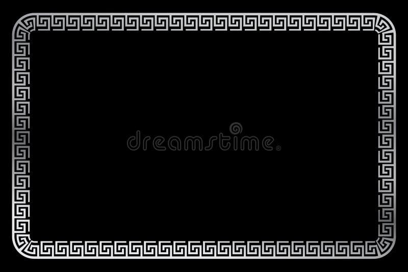 Het eenvoudige Vector Zilveren Rechthoekkader voor Certificaat, Aanplakbiljet gaat of ander Elementenontwerp Verwant, bij Zwarte stock illustratie