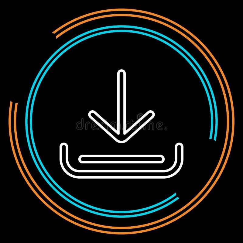 Het eenvoudige Vectorpictogram van de Download Dunne Lijn royalty-vrije illustratie