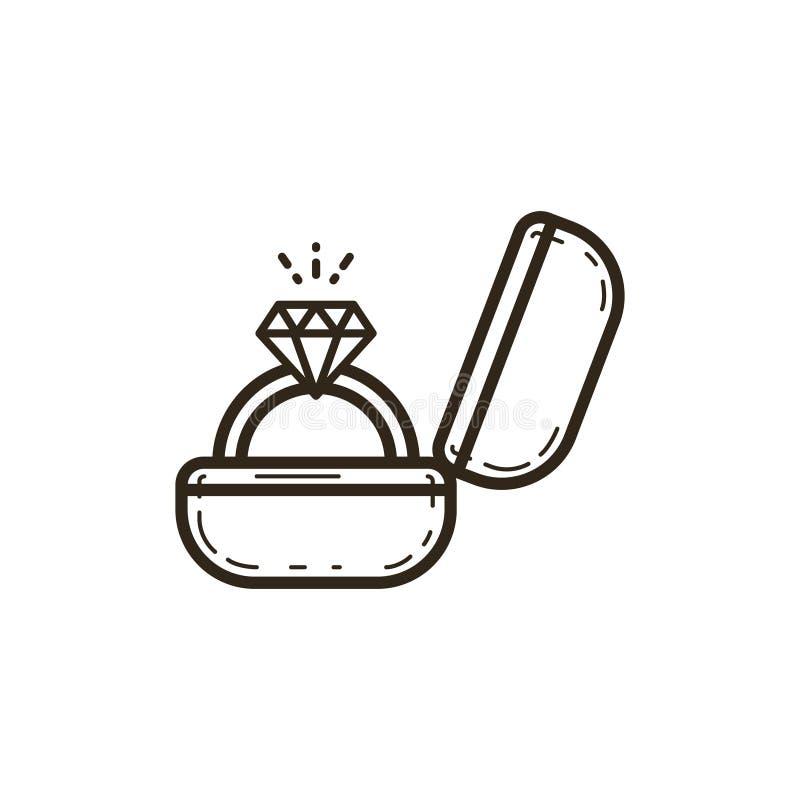 Het eenvoudige vectorpictogram van de lijnkunst van een doos met een ring en een edelsteen stock illustratie