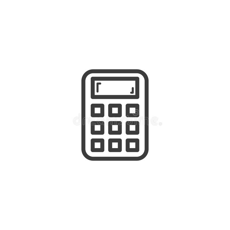 Het eenvoudige vectorpictogram van de het overzichtscalculator van de lijnkunst stock illustratie