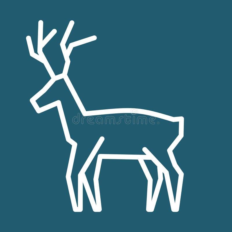 Het eenvoudige vectorpictogram van het Kerstmisrendier royalty-vrije illustratie