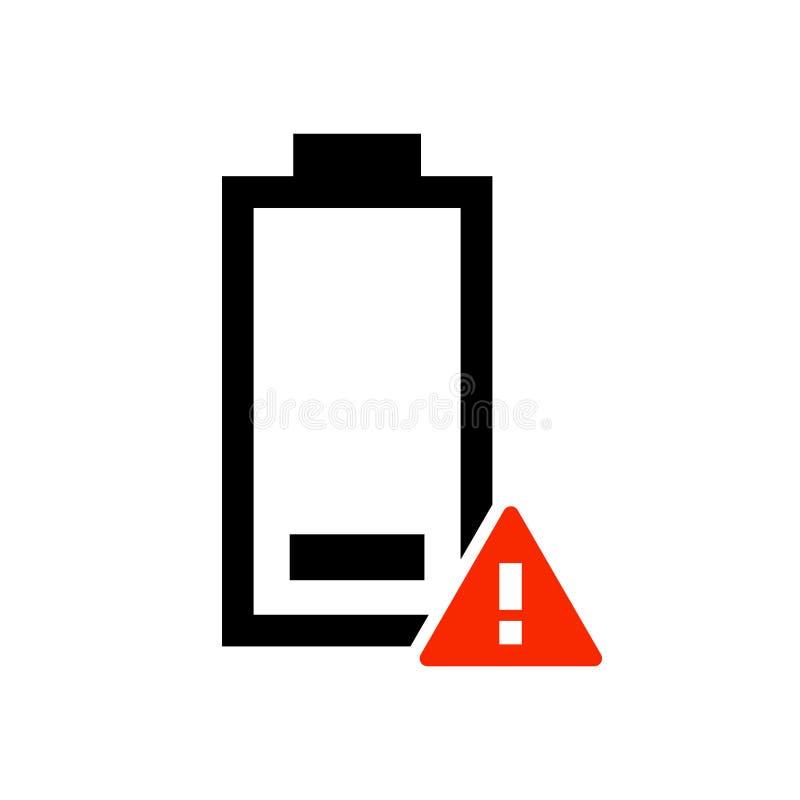 Het eenvoudige, vlak zwarte en rode lage pictogram van de batterijwaarschuwing Geïsoleerd op wit stock illustratie