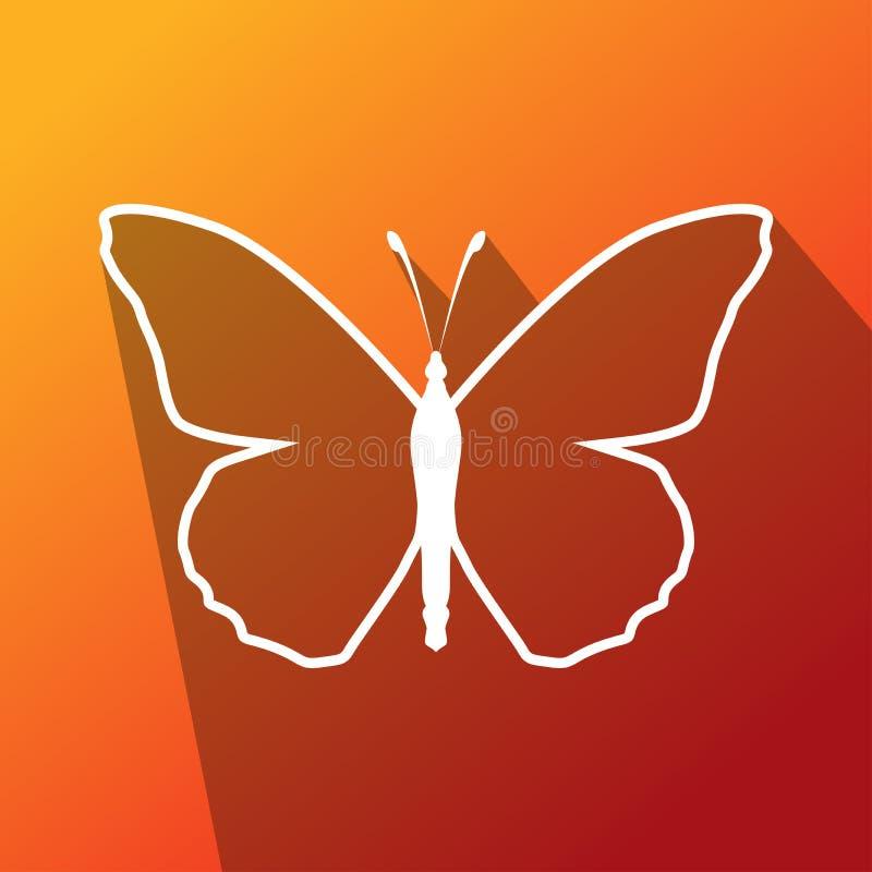 Het eenvoudige witte pictogram van de overzichtsvlinder met lang schaduweffect in rode colorfullillustratie als achtergrond stock illustratie