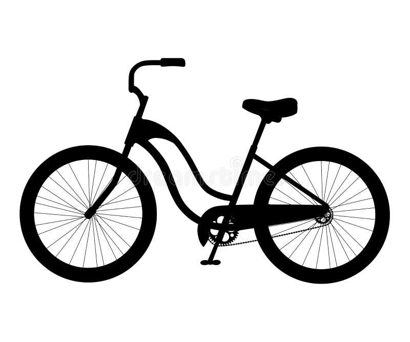 Het eenvoudige zwarte die pictogram van de stadsfiets silhouetteert de illustratie van het verkeerselement op wit achtergrondwebs royalty-vrije illustratie