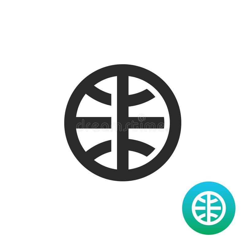 Het eenvoudige zwarte lineaire pictogram van de aardebol stock illustratie