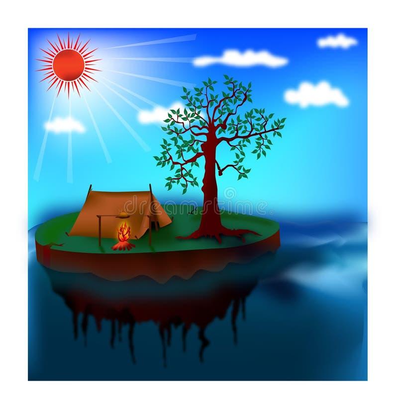 Het eenzame eiland kamperen vector illustratie