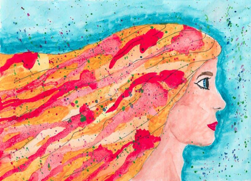 Het eerlijke meisje van de haarwaterverf stock afbeeldingen