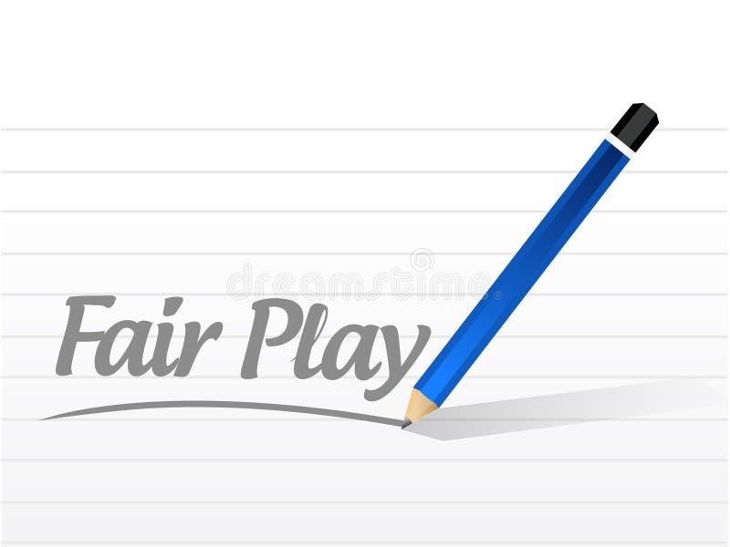 het eerlijke spelbericht en ontwerp van de potloodillustratie stock illustratie