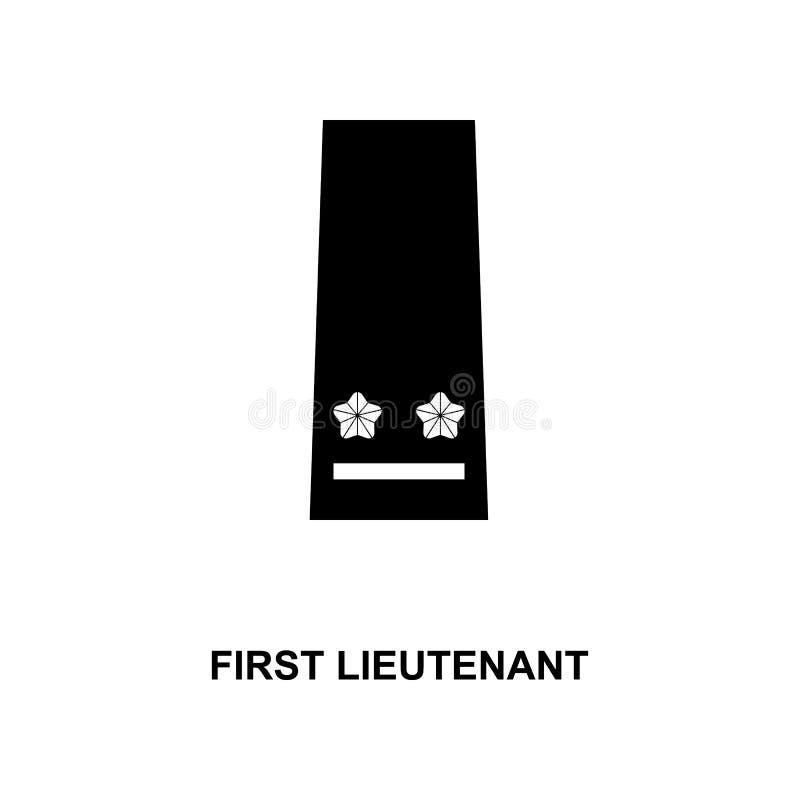 het eerste luitenant militair rangen van Japan en insignes glyph pictogram royalty-vrije illustratie